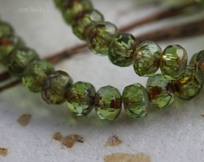 LUSH BABIES  .. New 30 Premium Picasso Czech Rondelle Glass Beads 3x5mm (6038-st)