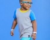 Color Block T-Shirt, Super Soft Grey Bamboo Cotton Baby t-shirt, Cool Toddler Clothes, Toddler Boy Girl shirt, Spring, Bright kid's t-shirt