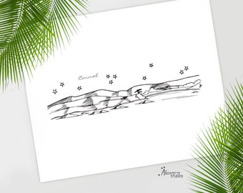 Carmel / Pebble Beach, California - United States - Instant Download Printable Art - City Skyline Series