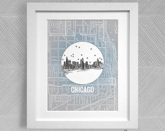 Chicago, Illinois - United States - Instant Download Printable Art - Vintage City Skyline Map Series