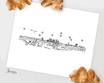 Fargo, North Dakota - United States - Instant Download Printable Art - City Skyline Series