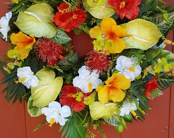 Tropical Door Wreath....Hibiscus Wreath......Luau Wreath