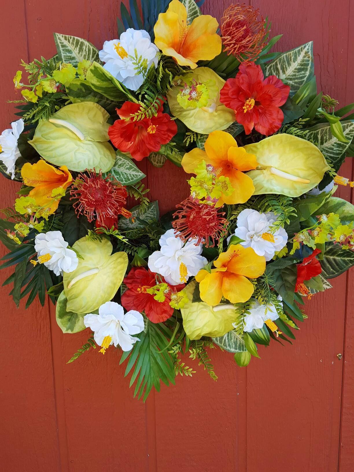 Tropical Door Wreath Hibiscus Wreath Luau Wreath