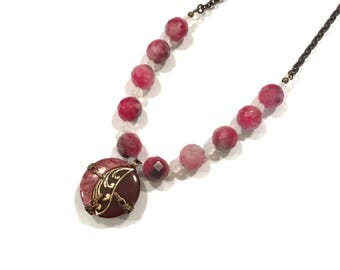 Rose and Burgundy Antique button necklace.