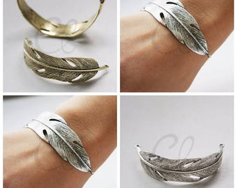 One Piece Antique Brass or Oxidized Silver Tone Base Metal Link - Feather 70x36mm (3113C)(M-233A)(M-234B)