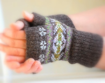 Knitting Pattern Fair Isle Mitts Digital download pdf