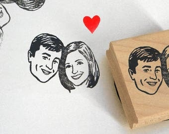 Personalized gift for couple wedding favors Custom Portraits invitations stamp / save the date stamp / self inking / wedding bridesmaid her