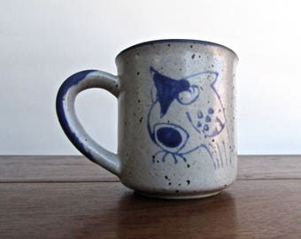 Otagiri Artist Owl Mug, Gorgeous Speckled-Grey Mug w/ Loose & Expressive Brushwork Owl MCM Studio Pottery Movement Japan