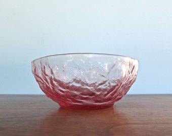 Seneca Driftwood Crinkle Dessert Bowl in Dark-Pink, Mid Century Morgantown-West Virginia