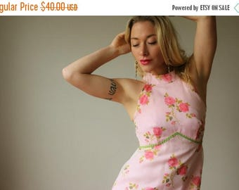 ANNIVERSARY SALE 1970s Floral Rose Dress~Size Extra Small