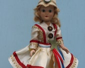Vintage Fourth of July Plastic Girl/Parade Drum Majorette, Red, White, and Blue, Patriotic.