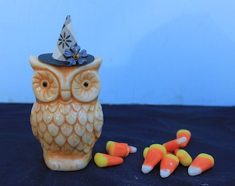 Vintage Style Halloween - Ceramic Owl Figure with Witch Hat, Black Flower