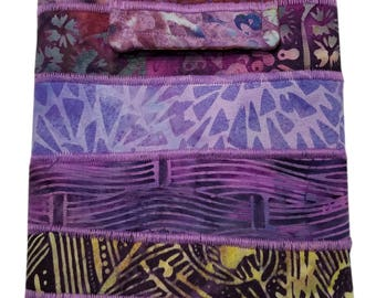 Nook or Kindle Fire Ipad Mini Sleeve in Purple Batik Fabrics Back to School