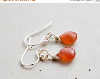 Rhodochrosite Gemstone Earrings, Gemstone Drop Earrings, Pink Delicate Dangle Earrings