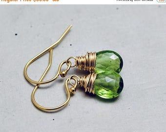 Peridot Earrings, August Birthstone, Peridot Jewelry, Gold Drop Earrings