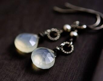 Chalcedony Earrings, Dangle Earrings, Chalcedony Jewelry, Drop Earrings,