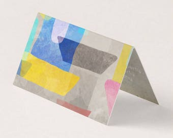 Folded Horizontal 100 Business Cards - Abstract City Drawing
