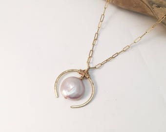 Gold Filled Crescent Necklace-Pink Pearl  (N430GF-PP) Handmade, Hammered, Contemporary, Chain Necklace