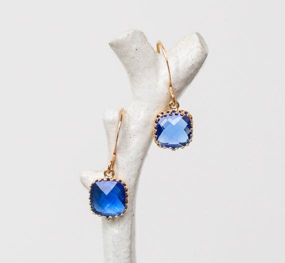 Cobalt blue small drop earrings in gold