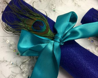 SALE 25 Peacock Feather Napkin Rings in TEAL and GOLD