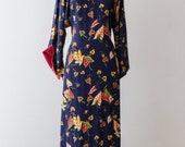 Vintage 1940s Dress - Vintage 40s PAKE MUU Rayon Hawaiian Dress With Anthurium Print // Waist 40