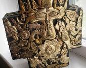 Rare ESTELA OGAZON signed black cross religious icons Milagros Mexican folk art