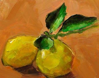 LEMONS FOOD FOODIE Culinary Original Art Colette Davis 4x4 Painting Oil
