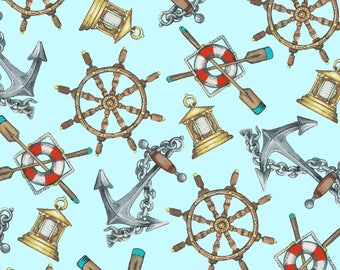 Beach Fabric Cotton Quilting High Tide Aqua Nautical 42816-1  (1/2 yd) cuts Quilting Sewing Crafting Fabrics Material Quilts