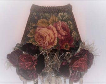 Autumn Rose Burgundy Browns NIGHT LIGHT Brown Clear Beaded Fringe