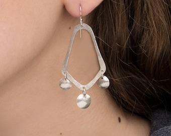 Chandelier earrings, shiny sterling silver.