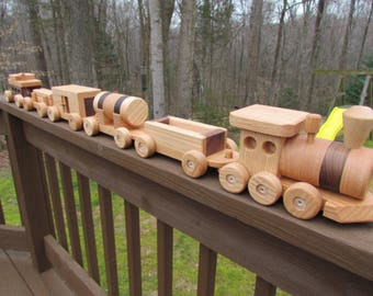Sale 40 off!  Train wooden toy set 6 car Handmade  oak and mahogany Heirloom Quality  Beautifully hand finished. Ready to ship!