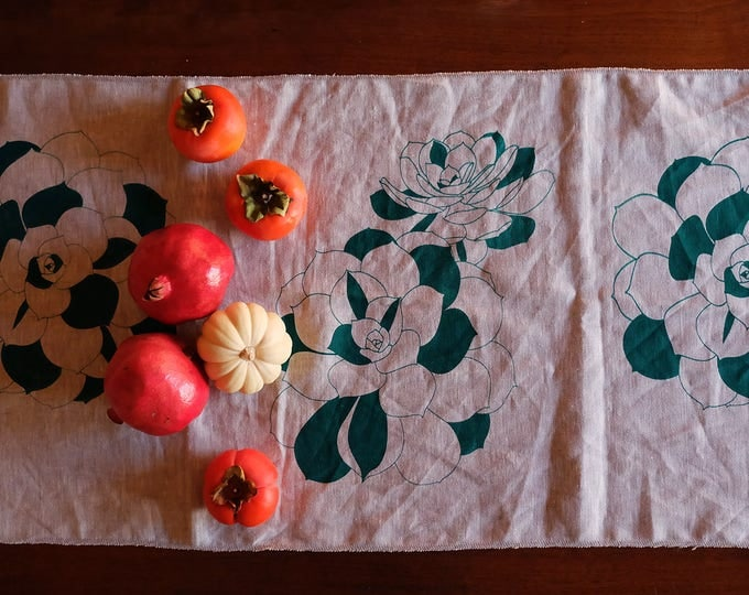 Hand Printed Linen Table Runner - California Succulents
