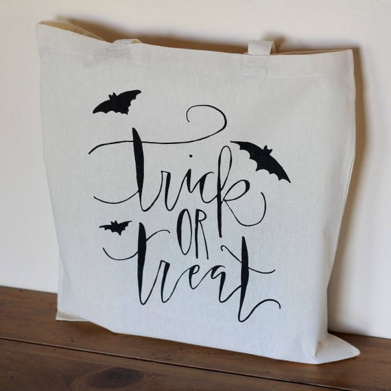 Halloween Trick or Treat Candy Bag Party Favor Tote Bag Teacher Gift Adult Halloween kids Tote Handwritten