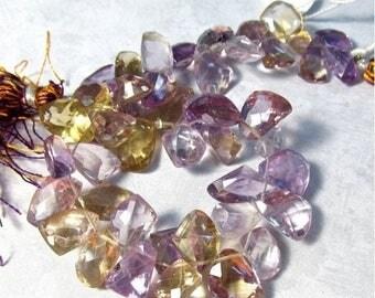 SALE 20% Off Fine Ametrine Briolette Beads 10mm 12mm, 8 Inches,  Anahi Ametrine Natural Purple Gold Gemstone