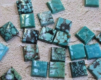 SALE Out Of TOWN Natural Kingman Arizona Turquoise Cabochon, 8mm Square, QTY2, Blue Gemstone Spider Web Matrix