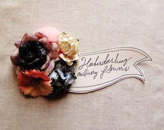 Navy blue glittered cream pink velvet puffball Garden Roses Handmade millinery flower corsage hair bow supply