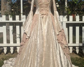 New color! Limited time custom order...Champagne Antique Rose Fairy Victorian Style Gwendolyn Medieval Wedding Gown
