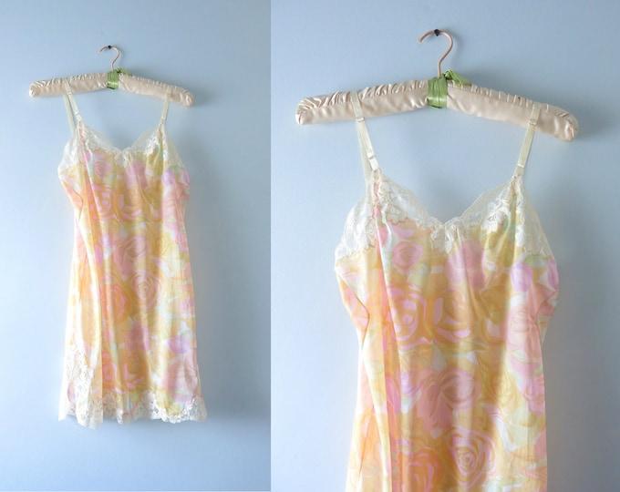 Vintage Rose Print Slip Dress | 1960s Pastel Roses Tricot Nylon Mini Slip Dress XS