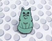 Floofy Cat Hard Enamel Pin - fluffy turquoise cat on a nickel metal back