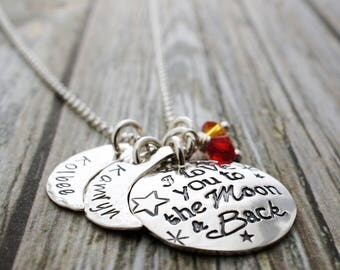 I Love You to the Moon & Back Necklace - Two Name Design - Personalized Jewelry in Sterling Silver by EWDjewelry
