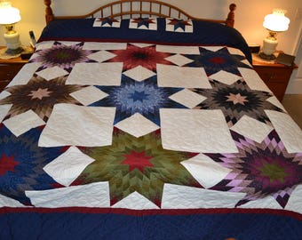 "Amish Stars All Around King quilt 109X117"""