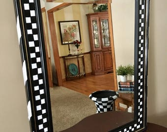 Reserved for Whitney  , painted wall mirror,  Black and white checkered wall mirror