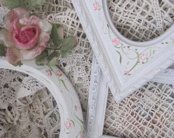 Set 3 White Picture Frames Hand Painted Roses, Baby Chic, Fabulous Shapes