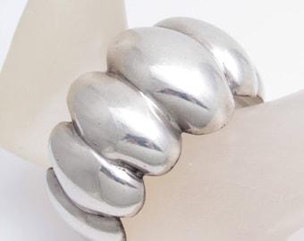 Wide Sterling Cuff Bracelet Ballesteros Taxco Vintage Jewelry  B5488