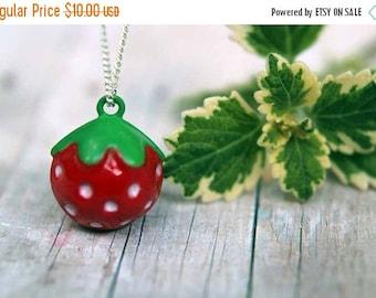 50%OFF Strawberry Pendant  Jingle Bell Necklace  Summer Berries  Girls, Kids, Children  Gift Box