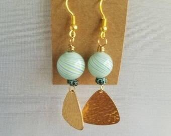50%OFF Green, Blue Swirl Glass Earrings, Gold Brass Dangles, 50 PercentOFF Beaded Earrings, Summer Earrings, Under 10