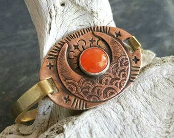 Carnelian Moon Cuff Bracelet, Crescent Moon, Celestial, Etched Copper, Hand Stamped, Gold Brass, Boho, Bohemian