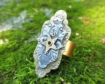 Mandala Ring, Hand Stamped, Riveted, Gold Brass, Aluminum, Boho, Bohemian,  Statement Ring, Size 7.5