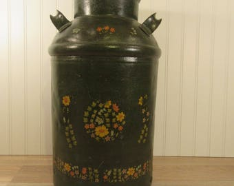 Rustic painted old milk can (no lid)- solid, weighty, rustic