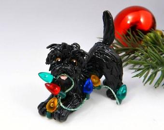 Affenpinscher Christmas Ornament Figurine Lights Porcelain